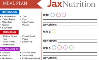 Jax Nutrition Meal Plan